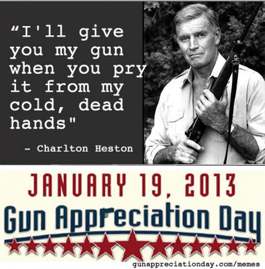 "Just in time for the presidential inauguration, a coalition of interest groups have declared Jan. 19 to be ""Gun Appreciation Day."" (Political Media, Inc.)"