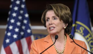 **FILE** House Minority Leader Nancy Pelosi, California Democrat, speaks during a news conference on Capitol Hill in Washington on Jan. 4, 2013, a day after the new Congress opened for business. (Associated Press)