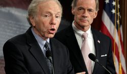 Sen. Thomas R. Carper (right), Delaware Democrat, succeeds the now-retired Sen. Joe Lieberman, Connecticut independent, as chairman of the Senate Homeland Security and Governmental Affairs Committee. The ranking Republican is also new. (Associated Press)
