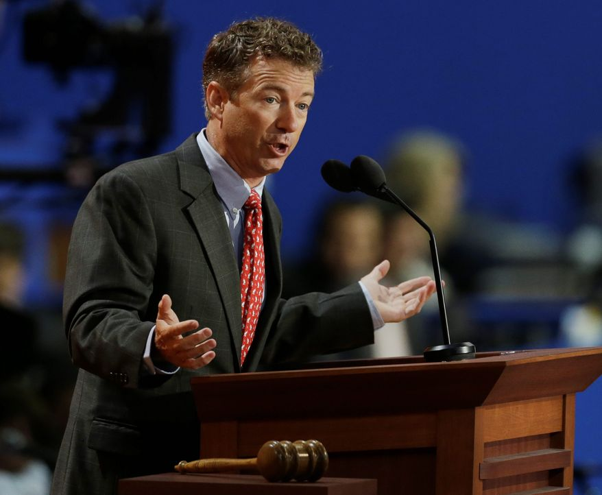 Sen. Rand Paul, Kentucky Republican, is a barometer of grass-roots ferocity, reminding the press that the tea party is still percolating and libertarian conservatism remains a force. (Associated Press)