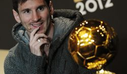 Argentina's Lionel Messi, one of the nominees for the FIFA Men's World Soccer Player of the Year Award,attends a press conference during the FIFA Ballon d'Or Gala 2013 held at the Kongresshaus in Zurich, Switzerland, on Monday, Jan. 7, 2013. (AP Photo/Keystone/Steffen Schmidt)