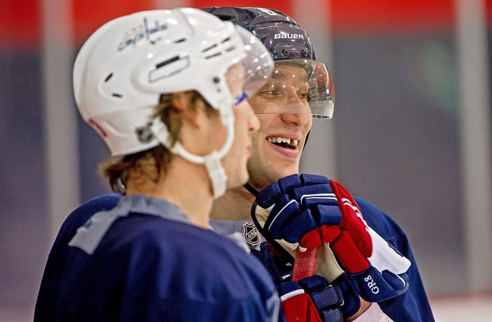 Capitals captain Alex Ovechkin skated with his team Tuesday for the first time since the end of the NHL lockout. The winger spent the hiatus playing for Dynamo Moscow. (Andrew Harnik/The Washington Times)