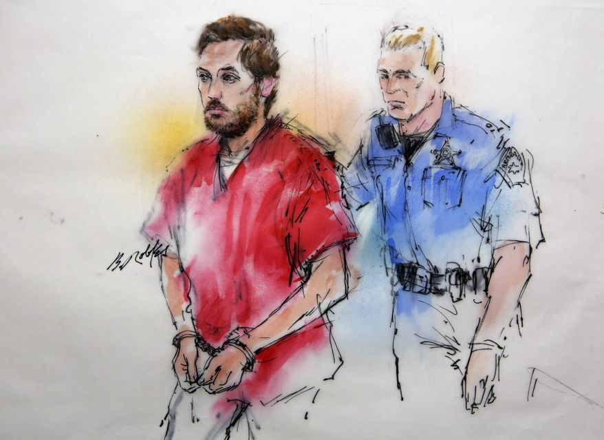 **FILE** This courtroom sketch shows James Holmes being escorted by a deputy as he arrives at preliminary hearing in district court in Centennial, Colo., on Jan. 7, 2013. Investigators say Holmes opened fire during the midnight showing of the latest Batman movie on July 20, killing 12 people and wounding dozens. (Associated Press)
