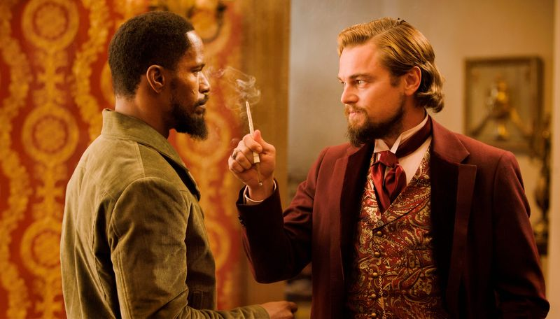 """Jamie Foxx and Leonardo DiCaprio star in the film """"Django Unchained,"""" which is drawing protests for its action figures. (Weinstein Co. via Associated Press)"""