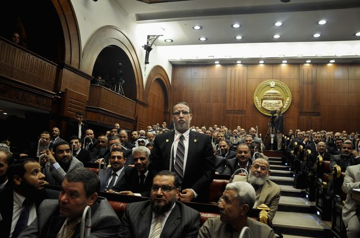 Essam el-Erian, vice chairman of Egypt's Freedom And Justice Party, speaks at the Shura Council in Cairo. He created a stir recently when he called on Egyptian Jews living in Israel to return because the Jewish state won't survive. (Associated Press)