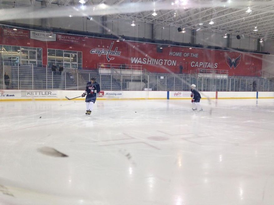 Alex Ovechkin returned to the ice at the Capitals' practice facility Tuesday. (Stephen Whyno / The Washington Times)
