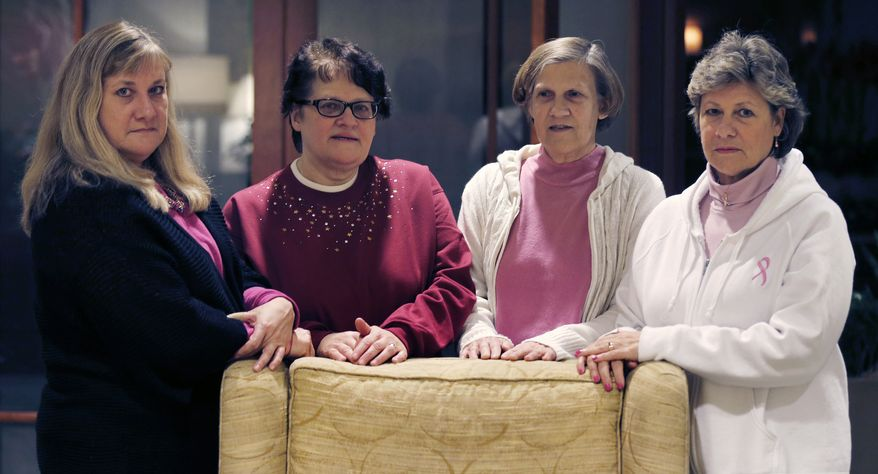The Melnick sisters, seen here at a hotel in Boston on Jan. 7, 2013, are suing Eli Lilly and Co., alleging that a synthetic estrogen known as DES caused them all to get breast cancer. From left are Francine Melnick, Andrea Andrews, Donna McNeely and Michele Fecho. (Associated Press)