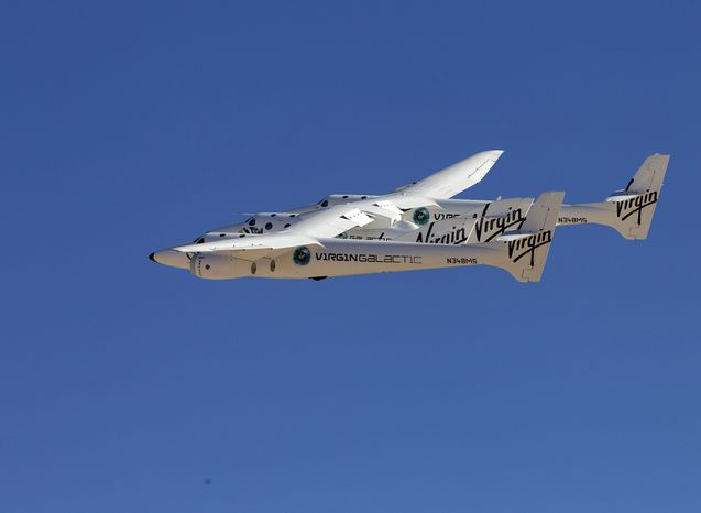 The civilian space travel industry is looking to states like New Mexico to expand legal protection if things go wrong. SpaceShipTwo is shown being carried to Spaceport America in New Mexico. (Associated Press)