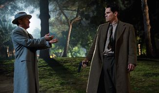 "This publicity film image released by Warner Bros. Pictures shows Sean Penn (left) as Mickey Cohen and Josh Brolin as Sgt. John O'Mara in the film, ""Gangster Squad."" (Warner Bros. Pictures via Associated Press)"