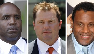 "FILE - At left, in a June 23, 2011 file photo, former San Francisco Giants baseball player Barry Bonds leaves federal court in San Francisco. At center, in a July 14, 2011 file photo, former Major League baseball pitcher Roger Clemens leaves federal court in Washington. At right in a May 13, 2009 file photo, former baseball player Sammy Sosa attends the People En Espanol ""50 Most Beautiful"" gala in New York. With the cloud of steroids shrouding the candidacies of Bonds, Clemens and Sosa, baseball writers on Wednesday, Jan. 9, 2013, might not elect anyone to the Hall of Fame for only the second time in four decades. (AP Photo/File)"