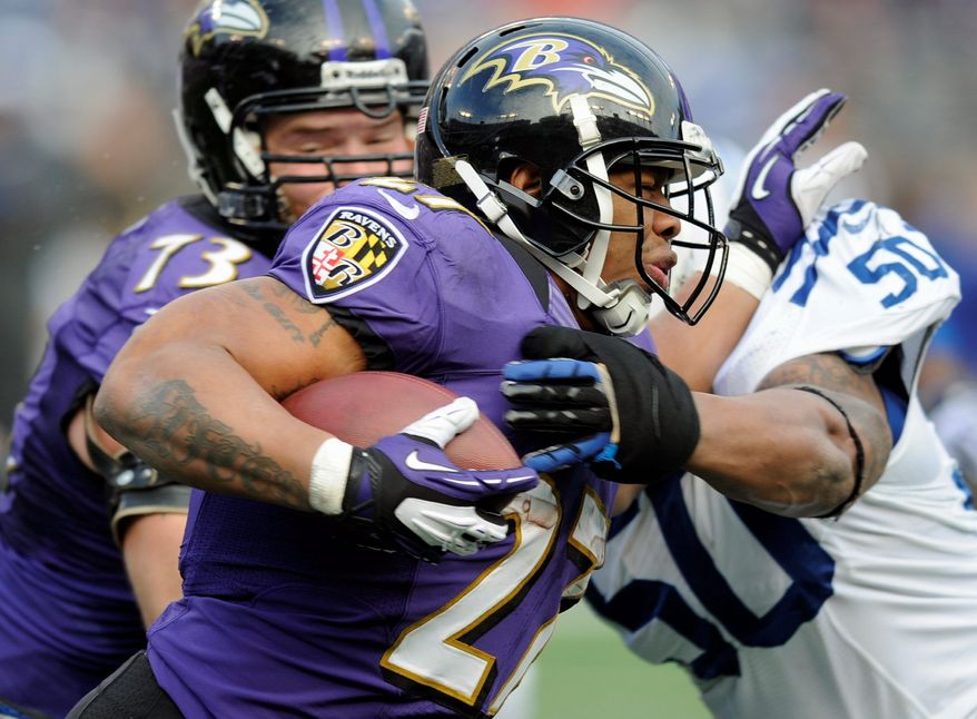 While rookie Bernard Pierce has taken the pressure off Ray Rice, the veteran is still Baltimore's go-to back. (Associated Press)