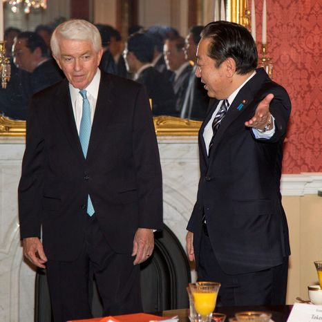 "Chamber of Commerce President and CEO Tom Donohue, shown last year with Japanese Prime Minister Yoshihiko Noda, said that regulatory burdens and the recent ""fiscal cliff"" tax increases are among the biggest issues that are discouraging job creation. (Associated Press)"