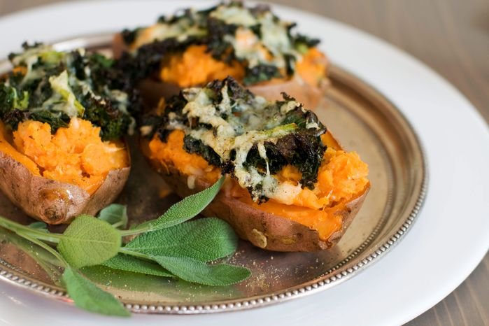 Loaded baked sweet potatoes make a savory one-bowl meal, especiall