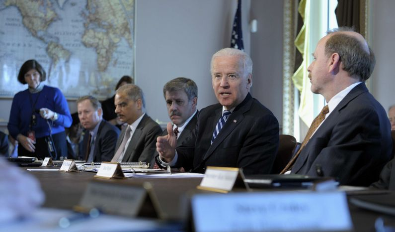 President Joe Biden, second from right, gestures as he speaks during a meeting with Sportsmen and Women and Wildlife Interest Groups and member of his cabinet, Thursday, Jan. 10, 2013, in the Eisenhower Executive Office Building on the White House complex in Washington. (AP Photo/Susan Walsh)