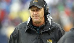 **FILE** Jacksonville Jaguars head coach Mike Mularkey watches the first half of Jacksonville's 34-18 loss to the Buffalo Bills in Orchard Park, N.Y., on Dec. 2, 2012. (Associated Press)