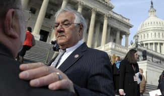 ** FILE ** Retiring Rep. Barney Frank, Massachusetts Democrat, talks on Capitol Hill in Washington on Thursday, Jan. 3, 2013, before the start of the 113th Congress. (AP Photo/Cliff Owen)