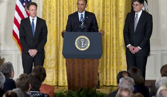 President Obama (center), accompanied by outgoing Treasury Secretary Timothy F. Geithner (left), announces in the East Room of the White House in Washington on Thursday, Jan. 10, 2013, that he will nominate current White House Chief of Staff Jack Lew (right) as the next secretary of the treasury. (AP Photo/Carolyn Kaster)