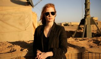 "Jessica Chastain is up for a best actress Oscar for her work in ""Zero Dark Thirty,"" directed by Kathryn Bigelow, who was not nominated. (Columbia Pictures via Associated Press)"