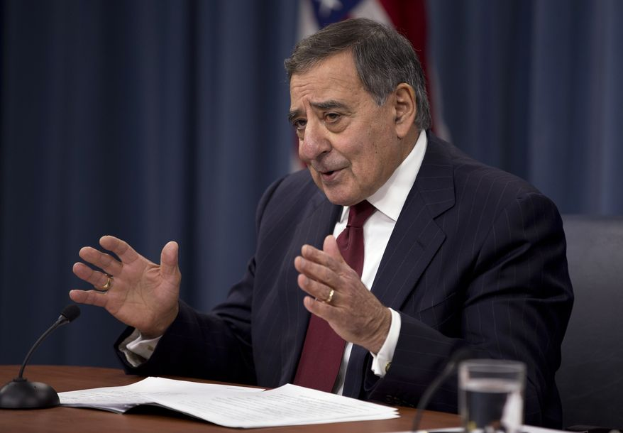 ** FILE ** Defense Secretary Leon E. Panetta speaks during a news conference at the Pentagon on Jan. 10, 2013. (Associated Press)