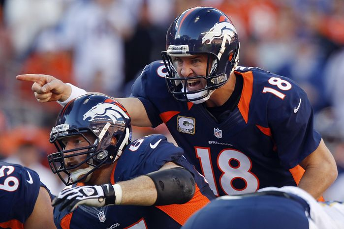 **FILE** Denver Broncos quarterback Peyton Manning (18) calls an audible against the San Diego Chargers during the second quarter of the Broncos' 30-23 win in Denver on Nov. 18, 2012,. (Associated Press)
