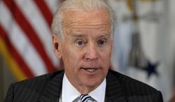 **FILE** Vice President Joseph R. Biden speaks during a meeting with representatives from the video game industry in the Eisenhower Executive Office Building on the White House complex in Washington on Jan. 11, 2013. Biden is holding a series of meetings this week as part of the effort he is leading to develop policy proposals in response to the Newtown, Conn., school shooting. (Associated Press)