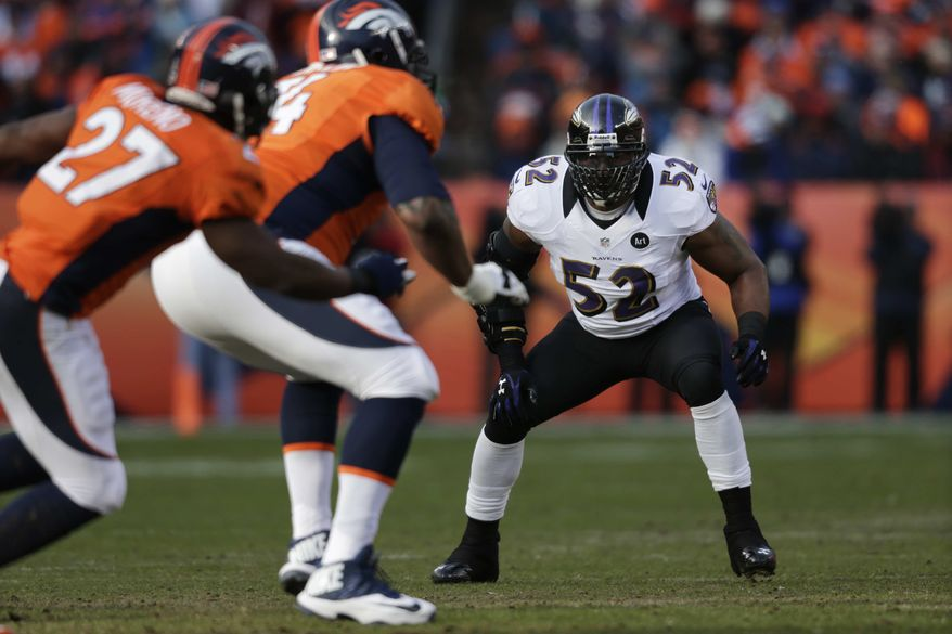 Baltimore Ravens inside linebacker Ray Lewis defends against the Denver Broncos in the first quarter of an AFC divisional playoff NFL football game, Saturday, Jan. 12, 2013, in Denver. (AP Photo/Joe Mahoney)