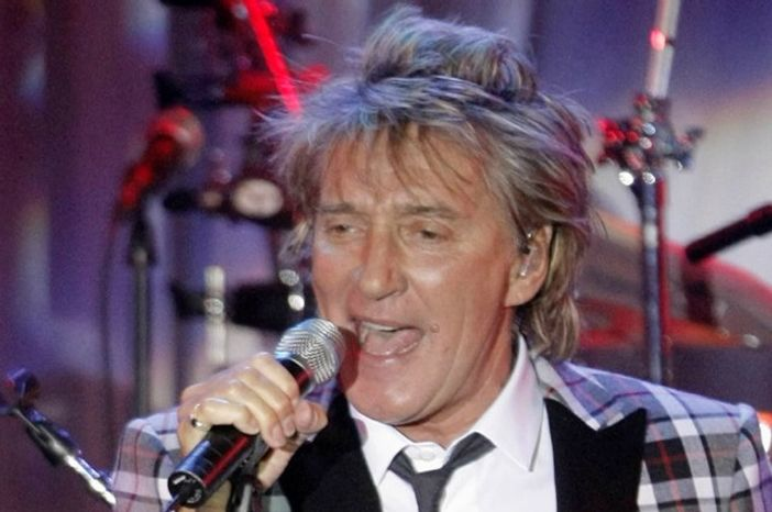 Singer Rod Stewart performs at Clive Davis' pre-Grammy party in Beverly Hi