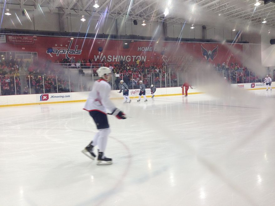 The Capitals began training camp Sunday in front of a packed house. (Stephen Whyno / The Washington Times)