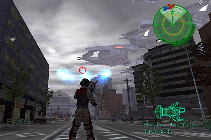 Blast alien ships out of the sky before they drop really big bugs in the PS Vita game Earth Defense Force 2017 Portable.
