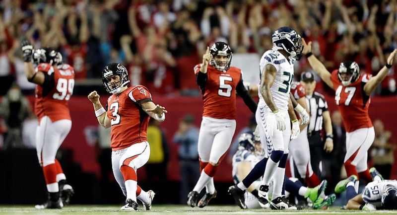 Atlanta Falcons kicker Matt Bryant (3) reacts to his game winning field goal against the Seattle Seahawks during the second half of an NFC divisional playoff NFL football game Sunday, Jan. 13, 2013, in Atl