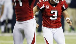 Atlanta Falcons kicker Matt Bryant (3) reacts after kicking the game-winning field goal against the Seattle Seahawks during the second half of an NFC divisional playoff NFL football game Sunday, Jan. 13, 2013, in Atlanta. The Falcons won 30-28. (AP Photo/John Bazemore)