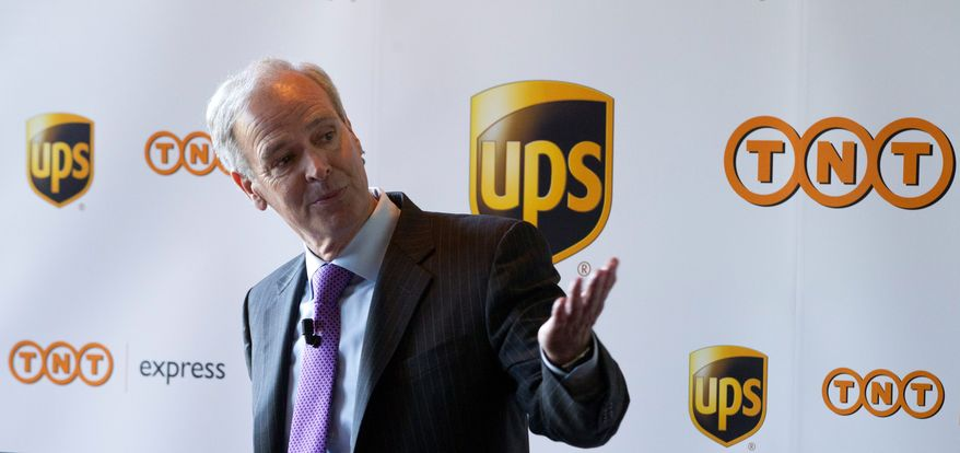 "UPS CEO Scott Davis said Monday that he was ""extremely disappointed"" with the stance taken by regulators that led UPS to drop plans to purchase TNT Express. (Associated Press)"