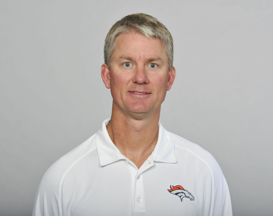 FILE - This is a 2012 file photo showing Mike McCoy of the Denver Broncos NFL football team. A person with knowledge of the situation says McCoy is working on a contract to become head coach of the division rival San Diego Chargers. The person spoke with The Associated Press on Tuesday, Jan. 15, 2013, on condition of anonymity because a deal hasn't been completed. (AP Photo/File)