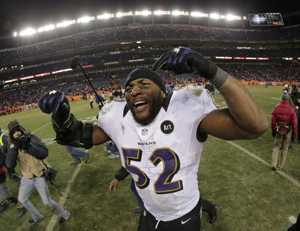 Baltimore Ravens inside linebacker Ray Lewis celebrates after the Ravens beat the Denver Broncos 38-35 in overtime of an AFC divisional playoff NFL football game, Saturday, Jan. 12, 2013, in Denver. (AP Photo/Charlie Riedel)