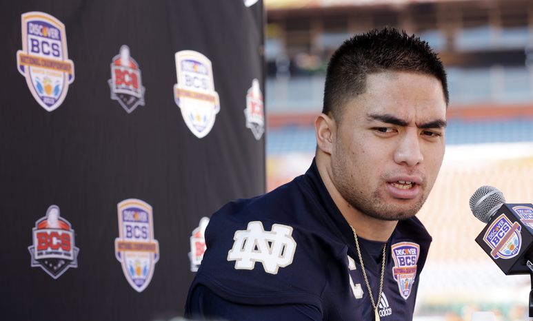 ** FILE ** Notre Dame linebacker Manti Te'o answers a question during Media Day for the BCS National Championship college football game on Saturday, Jan. 5, 2013, in Miami. (AP Photo/Da