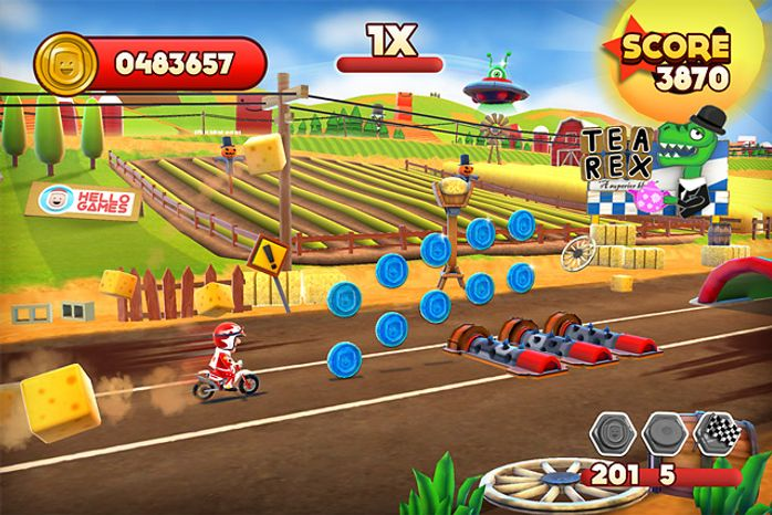 A player helps a motorcycle daredevil conquer courses in the iPad game Joe Danger Touch.