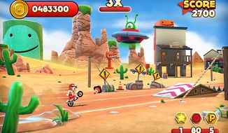 The world's most determined stuntman pops a wheelie in the iPad game Joe Danger Touch.