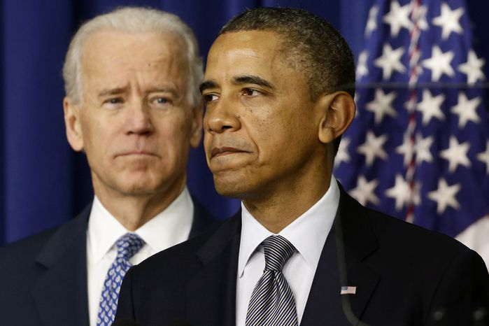 President Obama, accompanied by Vice President Joseph R. Biden, talks about proposals to reduce gun violence on Wednesday, Jan. 16, 2013, in the South Court Auditorium at the White House complex in Washington. (AP Photo/Charles Dharapak)