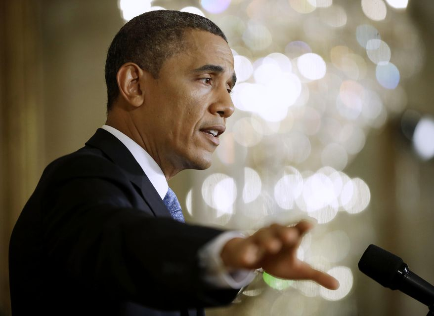 **FILE** President Obama answers questions from members of the media on Jan. 14, 2013, during a news conference at the White House in Washington. (Associated Press)
