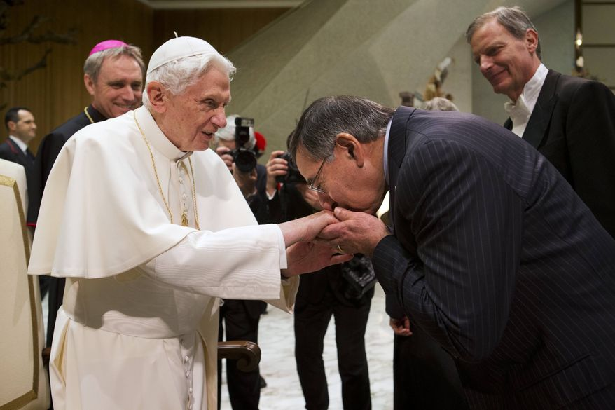 Pope Benedict XVI greets U.S. Defense Secretary Leon E. Panetta after the pontiff's weekly general audience in Paul VI Hall at the Vatican on Wednesday, Jan. 16, 2013. (AP Photo/Jacquelyn Martin)