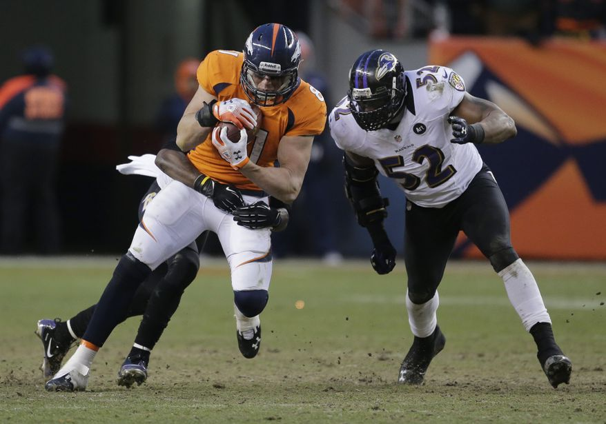Denver Broncos tight end Joel Dreessen is tackled by Baltimore Ravens inside linebacker Ray Lewis (52) in the third quarter of an AFC divisional playoff NFL football game, Saturday, Jan. 12, 2013, in Denver. (AP Photo/Charlie Riedel)