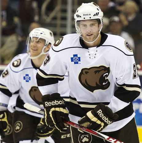 Tom Poti had a power-play goal during his two-game conditioning stint with the Hershey Bears (Associated Press)