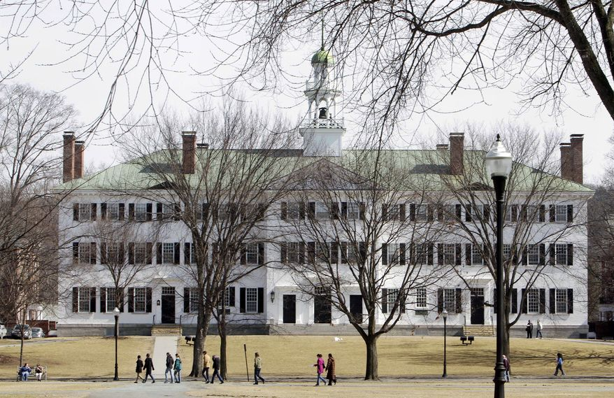 Students walk across the Dartmouth College campus green in Hanover, N.H., in March 2012. (AP Photo/Jim Cole)