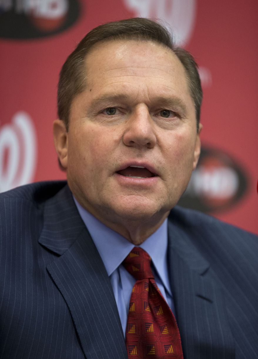 Scott Boras, agent for newly acquired Washington Nationals pitcher Rafael Soriano, speaks during an introductory news conference at Nationals Park, Thursday, Jan. 17, 2013, in Washington. (AP Photo/ Evan Vucci)