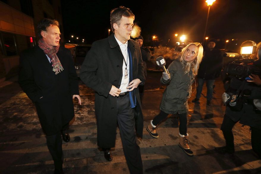 Statoil's chief executive officer, Helge Lund, arrives at the center in Bergen, Norway, set up for relatives of the hostages in Algeria. Algerian troops and helicopter gunships stormed the gas facility where Islamic extremists were holding foreign hostages on Thursday. (Associated Press)