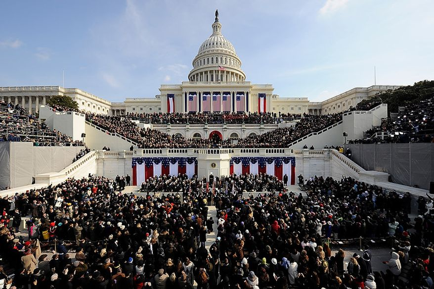 President Barack Obama delivers his inaugural address after being is sworn in as the 44th President of the United States at U.S. Capitol in Washington, D.C., Tuesday, January 20, 2009. (J.M. Eddins Jr. / The Washington Times)