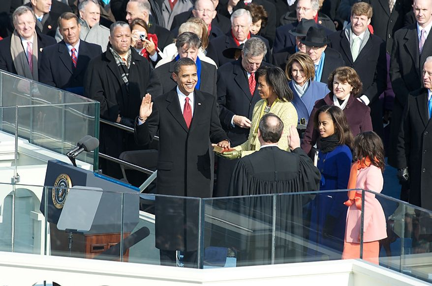 President elect barack obama is sworn in as the 44th for First president to be inaugurated on january 20
