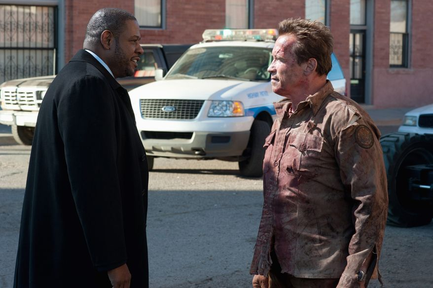"Arnold Schwarzenegger steps back into the type of role he mastered in the 1980s in ""The Last Stand,"" and the years show on his face. Forest Whitaker plays an FBI agent in the film. (Lionsgate via Associated Press)"