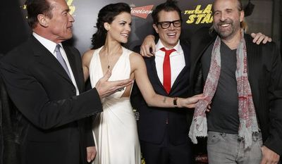 """** FILE ** Arnold Schwarzenegger, Jaimie Alexander, Johnny Knoxville and Peter Stormare attend the LA premiere of """"The Last Stand"""" at Grauman's Chinese Theatre on Monday, Jan. 14, 2013, in Los Angeles. (Photo by Todd Williamson/Invision/AP)"""