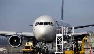 **FILE** A 787 jet painted in a Delta livery is seen Jan. 17, 2013, at Paine Field in Everett, Wash. (Associated Press)